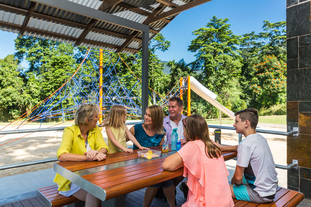Bentley Park, The Outlook family at picnic table at park